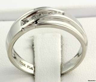 Genuine Round Diamond Mens Wedding Band   10k White Gold Fashion Ring