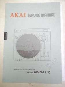 Vtg Akai Service/Repair Manual~AP Q41/C Turntable~Original