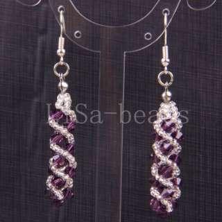 New Swarovski Crystal Beads Weave Dangle Earrings LU058