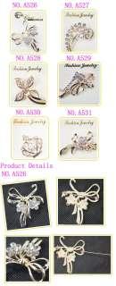 Fashion Women Goden Rhinestone Crystal Brooch Pin Bowknot Design A526
