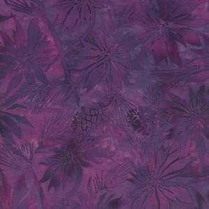 Poinsettias and Pine Cones in Rich Purples Batik Fabric