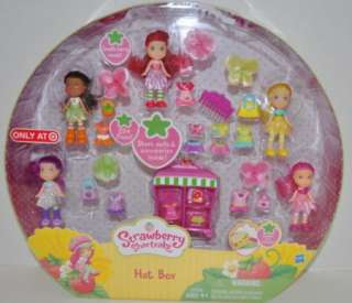 STRAWBERRY SHORTCAKE HAT BOX 5 MINI DOLLS PLAYSET EMILY ERDBEER PUPPE