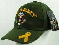 NEW OLIVE MILITARY U.S. ARMY WITH YELLOW RIBBON BASEBALL CAP