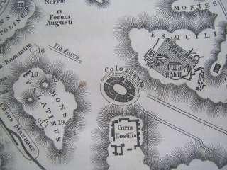 antikes altes ROM Stahl Stich Stadtplan KARTE 1860 ancient rome