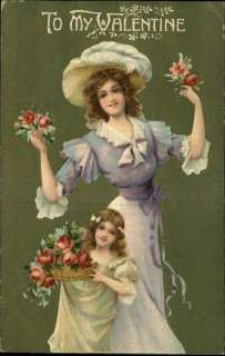 VALENTINE Woman w Little Girl c1910 Embossed PC   LOVELY ART