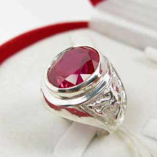 Sterling silver 925 lab Red Ruby symbol of the Dragons mens ring size