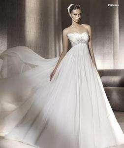 Elegant A line Strapless Chiffon Custom Wedding dress Bridal Gown Sz