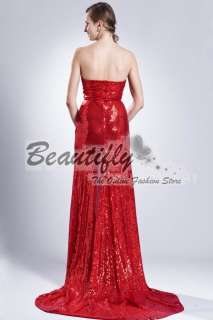Sexy Red Sequins Split Christmas Long Formal Gown Evening Gown Prom
