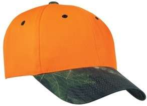SAFETY ORANGE / CAMOUFLAGE CAP, HAT, MOSSY OAK BRIM