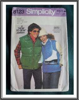 Vintage 70s Puffy Quilted Ski Vest Pattern Unisex 32 34