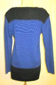 Vtg Black Royal Blue Sweater Knit Tunic MINI Dress M