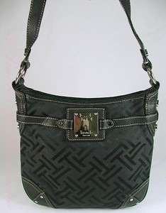Tignanello Double Belted Signature Crossbody Bag Purse Black