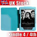 Purple Leather Case Cover Wallet with Light for  Kindle 4 4th