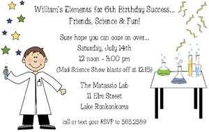Birthday Party Invitation Pick Blonde or Brunette Mad Scientist Lab