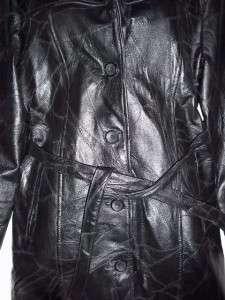 WOMENS BLACK FINE LEATHER JACKET COAT 3/4 LENGTH SMALL