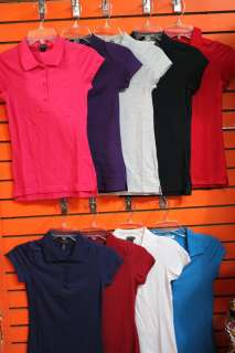 women basic solid stretch polo shirts white,red,gray,purple,fushia
