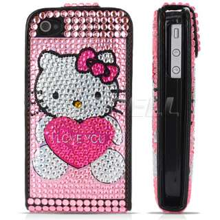 PINK HELLO KITTY HEART LEATHER BLING CASE FOR iPHONE 4