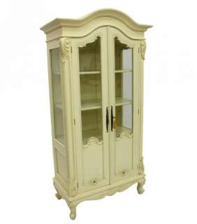 French style furniture Linen / display cabinet ivory bookcase painted