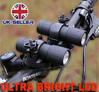 NEW WINTER LED MOUNTAIN BIKE TWIN FRONT LAMPS LIGHTS