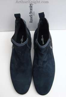 Russell & Bromley Navy Blue Suede Mens Chelsea Boots 8 Leather Sole