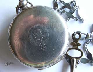 Antique Silver ARGENT Small Pocket Watch w/ Key and Chain