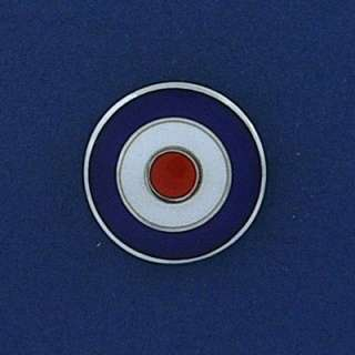 925 Sterling silver roundel tie tac lapel pin badge [ spitfire / RAF