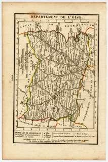 CARTE ANCIENNE XIXème Dept de l OISE 1823 Dos vierge