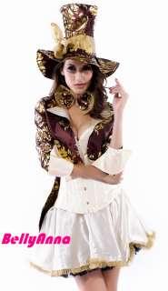 Women Sexy Mad Hatter Alice In Wonderland Halloween Cosplay Costume
