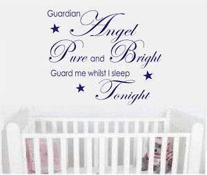 Wall art quote sticker baby nursery Guardian angel