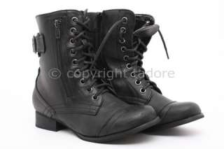 WOMENS COMBAT MILITARY ARMY WORKER LACE SHOES LADIES BUCKLE ANKLE BOOT