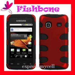 Red FISHBONE HYBRID IMPACT Case Cover for Straight Talk SAMSUNG GALAXY