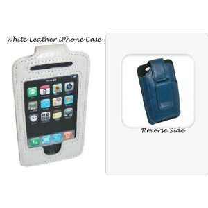 Genuine Leather iPhone Case with Belt Clip, in White