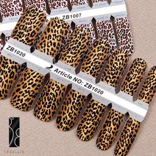 Lot 2 style sticker foil autocollant ongles leopard gel tip bon