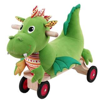 Eco Friendly Puffy Dragon Four Wheeled Plush Ride On   Smart Gear