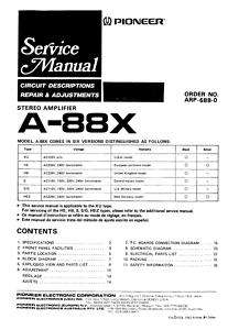 PIONEER A 88X STEREO AMPLIFIER SERVICE MANUAL ON CD R