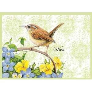Wellspring Note Card, Toile Birds Wren (6675) Office