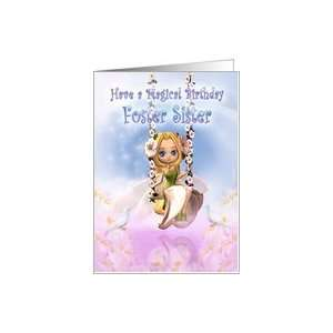 Foster Sister Birthday card with Cutie Pie fairy on swing
