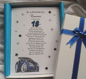 18th, 21st Birthday Card. A Luxury Personalised Keepsake For Son