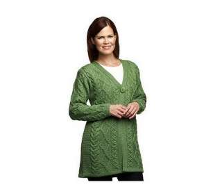 Aran Craft Merino Wool One Button Sweater Coat   QVC