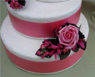 SET OF 3 HOT PINK & BLACK CAKE TOPPERS WEDDING BRIDES