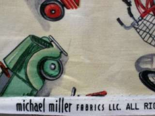 MICHAEL MILLER VINTAGE TOYS VEHICLE CAR BIKE WAGON COTTON QUILT SEW