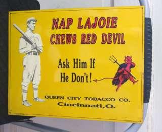 Chewing Tobacco Metal Tin Sig VTG Embossed Nap Lajoie Baseball Store
