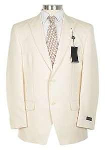 395 Sean John 42R Off White Cream Tonal Striped Tuxedo Style Suit