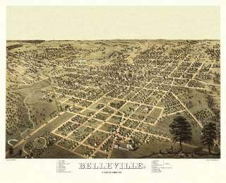 Vintage Map Belleville Illinois 1867 St. Clair County