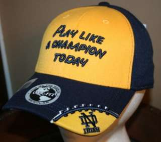 NOTRE DAME PLAY LIKE A CHAMPION TODAY IRISH One Fit CAP HAT stitched