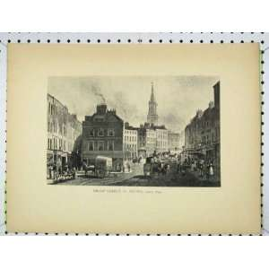 1830 Antique Print View Broad Street Scene St Giles