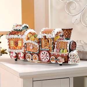 Winter lane fiber optic gingerbread train decoration