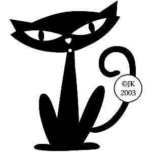Judikins Wood Mounted Rubber Stamp   Black Cat