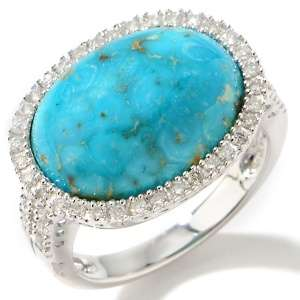 Crown Spring Turquoise and Diamond 14K White Gold Ring