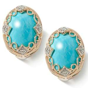 Heritage Gems Cloud Turquoise Diamond Accented 14K Earrings